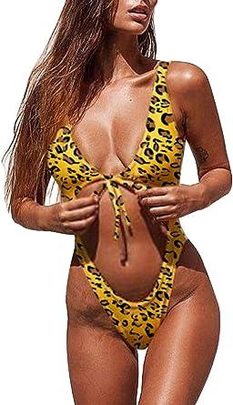 Allurelove Women Bathing Suits Sexy High Cut Out One Piece Swimsuits Thong Bikini Monokini Cheeky Swimwear Large Leopard 3 At Amazon Women S Clothing Store
