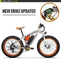 RICH BIT 1000W/48V/17AH Vélos électriques VTT 26''*4'' Gros Pneu 7 Niveaux de pédale assistée Affichage LCD Compteur de Vitesse 45-65KM Lithium-ION Battery