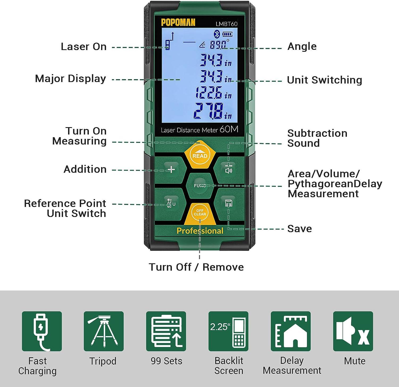 99 datos Funci/ón de Silencio Niveles de Burbuja con Carga R/ápida USB 2,25 LCD Retroiluminado Medidor L/áser 60m Bluetooth4.0 + App IP54- LMBT60 POPOMAN Tel/émetro L/áser