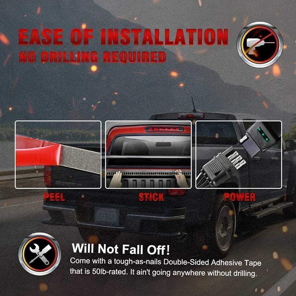 Red//White Tailgate Light Bar 60 Inch Double Row Truck Brake Flexible Strip Trailer Tail Lights Turn Signal Reverse Back Up Stop Running Light for Pickup RV SUV Van Car Jeep No Drill Needed