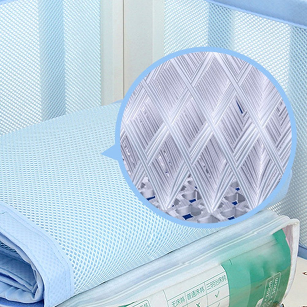 Blue Luerme Baby Breathable Mesh Crib Liner Detachable/ Sandwich/ Crib/ Bumper Anti-Collision/ Safety Bedding/ Kit Prevents Babies from Getting Stuck in Crib Slats