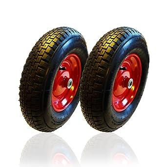 2 x HSM carretilla Cilindro de rueda para carretilla con manguera 4.80 4.00 - 8 para