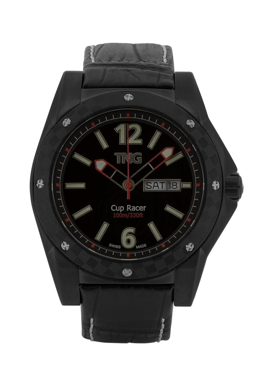 TNG Herren-Armbanduhr Analog Leder Schwarz TG667.30571.04PV