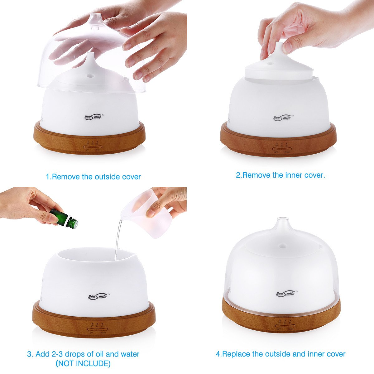 Housmile Aromatherapy Essential Oil Diffuser 200ml Aroma Cool Mist Humidifier with Timer Waterless Auto Shut-off and 7 Color LED Night Lights Change