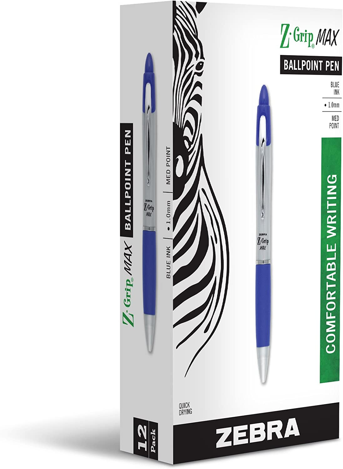 Zebra Pen Z-Grip MAX Retractable Ballpoint Pen, Medium Point, 1.0mm, Silver Barrel, Blue Ink, 12 Pack