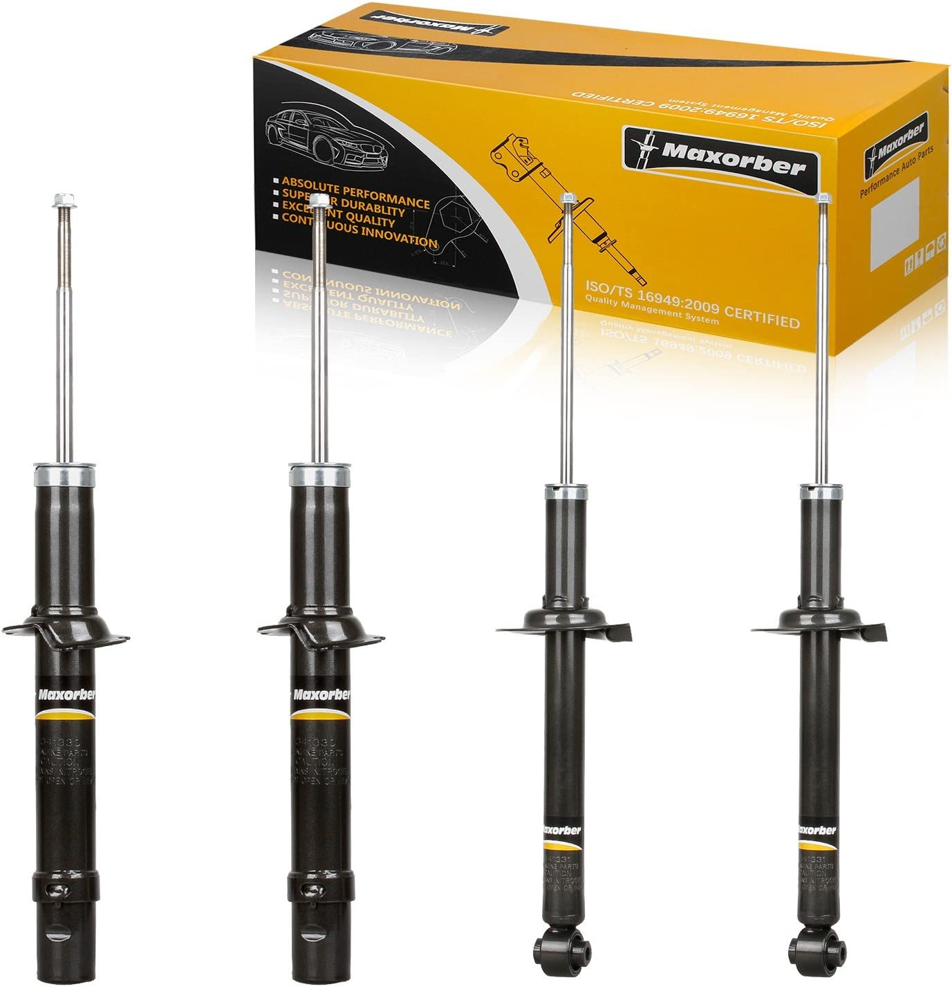 Maxorber 4pcs Shocks Struts Absorber Full Set Compatible with Acura TL 2004 2005 2006 2007 2008 Shock Strut Replacement for Honda Accord 03 04 05 06 07 Shock Absorber 341330 341331 72123 71372