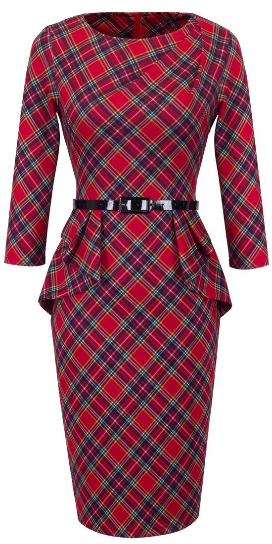 HOMEYEE Women's Vintage Tartan Wear to Work Bodycon Dress B267 (L, Red)