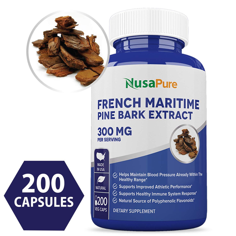 French Maritime Pine Bark Extract 300mg 200 Veggie Capsules (Non-GMO & Gluten Free) Supports Heart Health, Circulatory Health, Skincare, 150mg per Caps by NusaPure