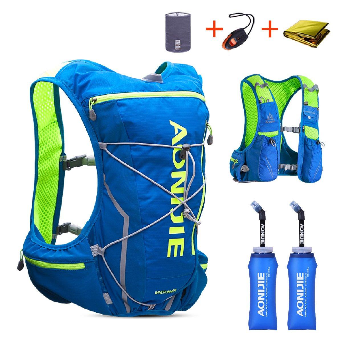Triwonder 10L ハイドレーション バッグ リュック サイクリング ハイキング ランニング 自転車バックパック B071CKP6X8 M/L 80-97cm(バスト)|ブルー&グリーン 2ソフト水筒付(350ml) ブルー&グリーン 2ソフト水筒付(350ml) M/L 80-97cm(バスト)