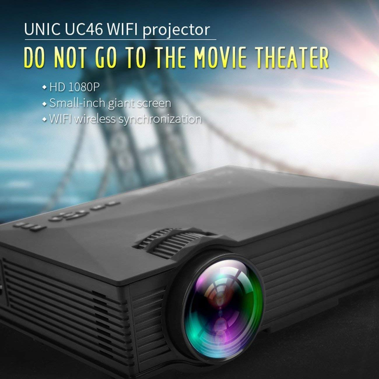 UC46 + Mini 1080P HD Proyector 1200LM Proyector LED Video ...