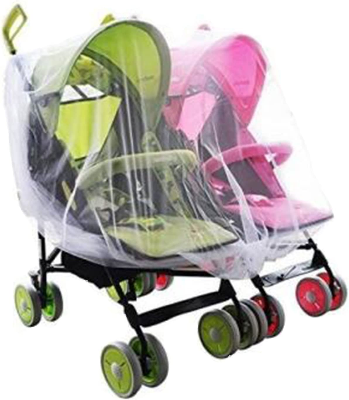 Portable Universal Twin Baby Stroller Mesh Mosquito Net Cover Preventing Bee Insect Bug for Tandem Side by Side Strollers Pushchairs