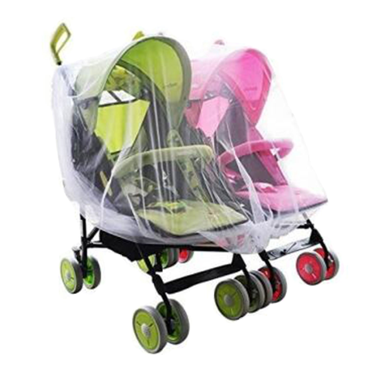 Portable Universal Twin Baby Stroller Mesh Mosquito Net Cover Preventing Bee Insect Bug for Tandem Side by Side Strollers Pushchairs Gosear