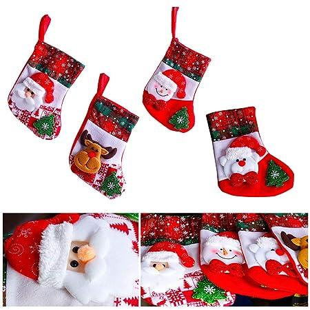 ForHe - Calcetines de Navidad de franela, tamaño grande, 9,84 x 5,51 x 7,48 cm, diseño de Papá Noel clásico/muñeco de nieve, decoraciones de calcetín ...