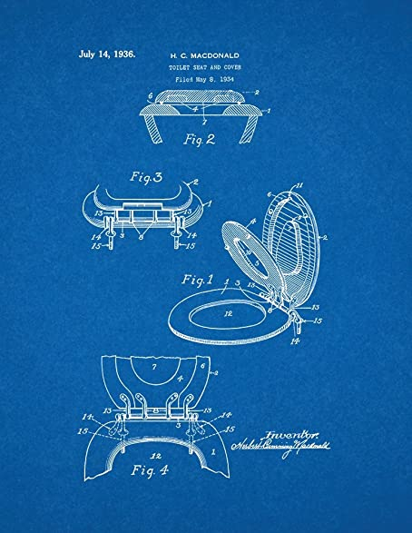 Amazon toilet seat and cover patent print art poster blueprint toilet seat and cover patent print art poster blueprint 11quot malvernweather Choice Image