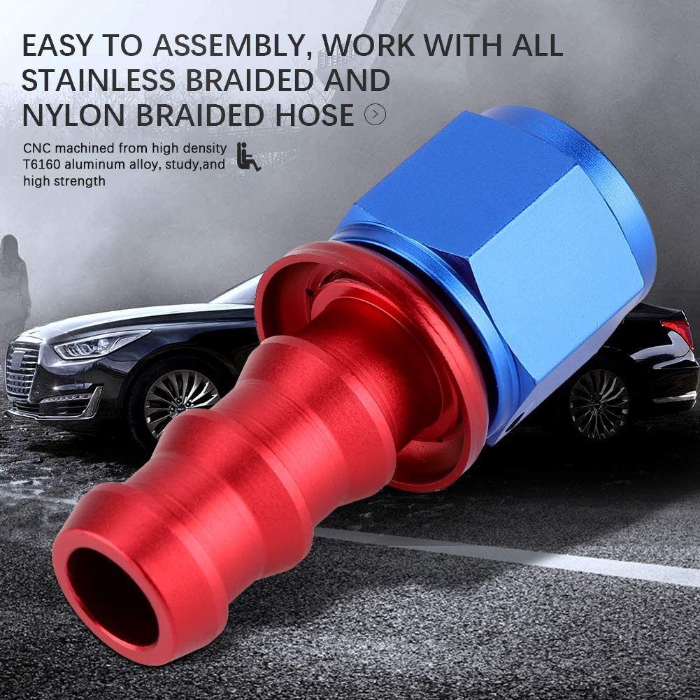 90/° KIMISS AN10 Straight 45 90 180 Degree Push On Twist Lock Oil Gas Fuel Line Hose End Male Fitting Aluminum Alloy Blue and Red