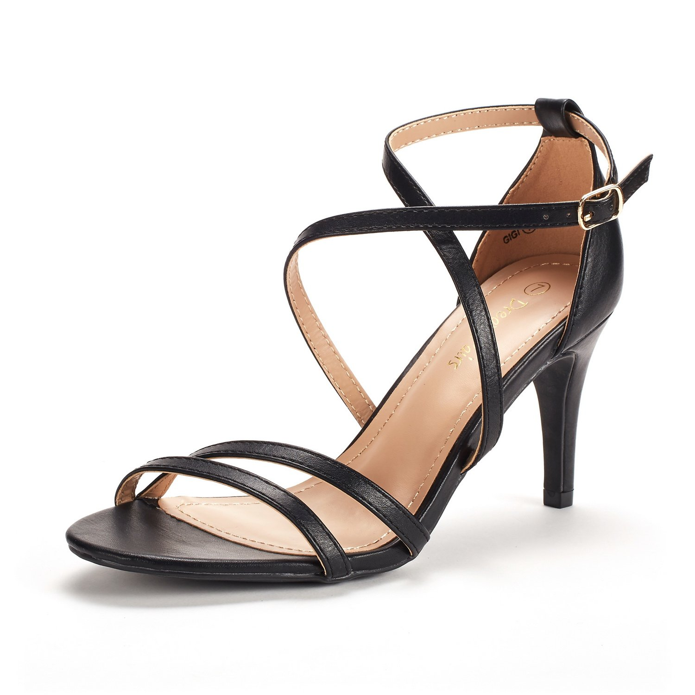DREAM PAIRS Women's Gigi Black Pu Fashion Stilettos Open Toe Pump Heeled Sandals Size 8 B(M) US