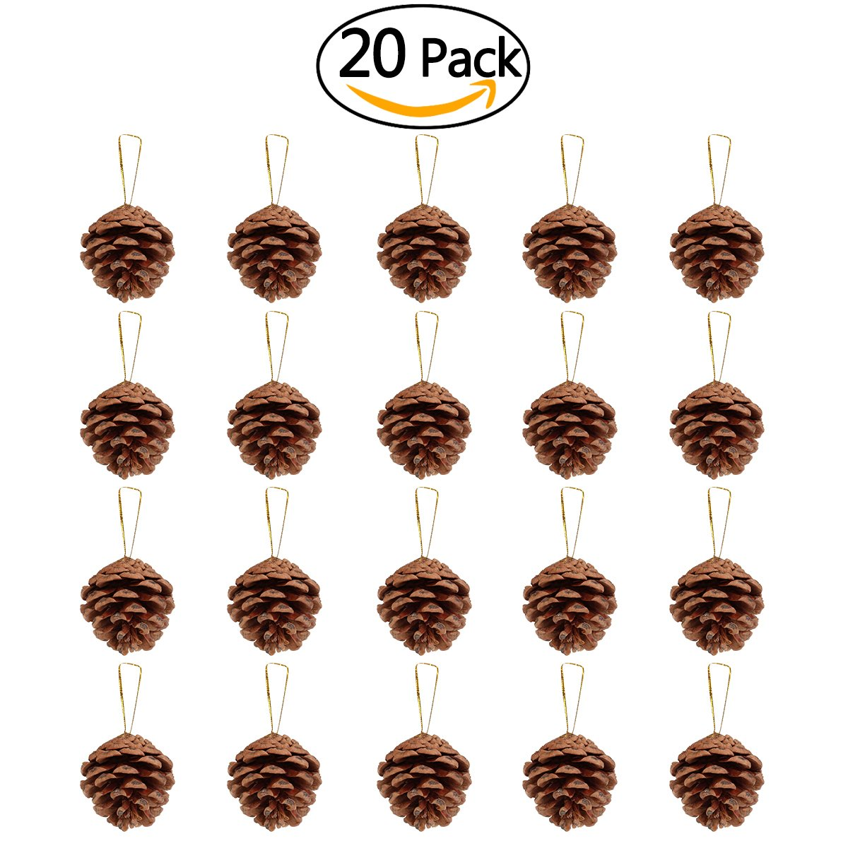 amazoncom nicexmas 20pcs 4 6cm christmas pine cones pendant with string natural wood christmas tree decoration crafts home ornament home kitchen - Pine Cone Ornaments