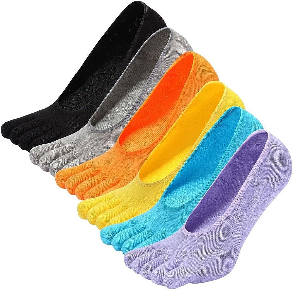 LOFIR Calcetines Cortos de 5 Dedos para Mujer Calcetines Invisibles con Dedos Separados, Calcetines Bajos Tobilleros de Algodón de Deporte para Chica, Talla 35-41, 5/6 pares