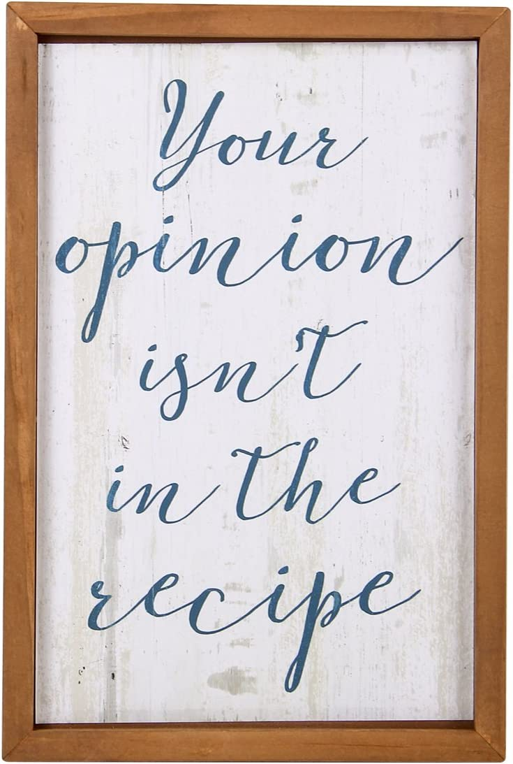 NIKKY HOME 12'' x 8'' Wood Framed Wall Art Poster Print with Quote Your Opinion Isn't in The Recipe