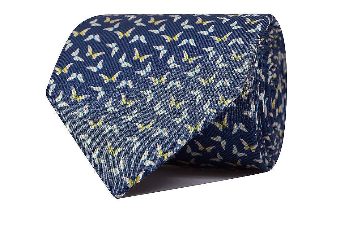 SoloGemelos - Corbata Estampada Mariposas Azul - Azul, Amarillo ...