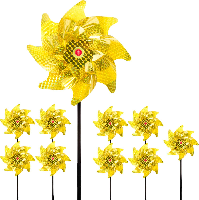 10 Pack Sparkly Reflective Pinwheels, Holographic Pin Wheel Spinners Whirl Reflective Pinwheel Scare Birds Away for Garden Yard Patio Lawn Farm Decor
