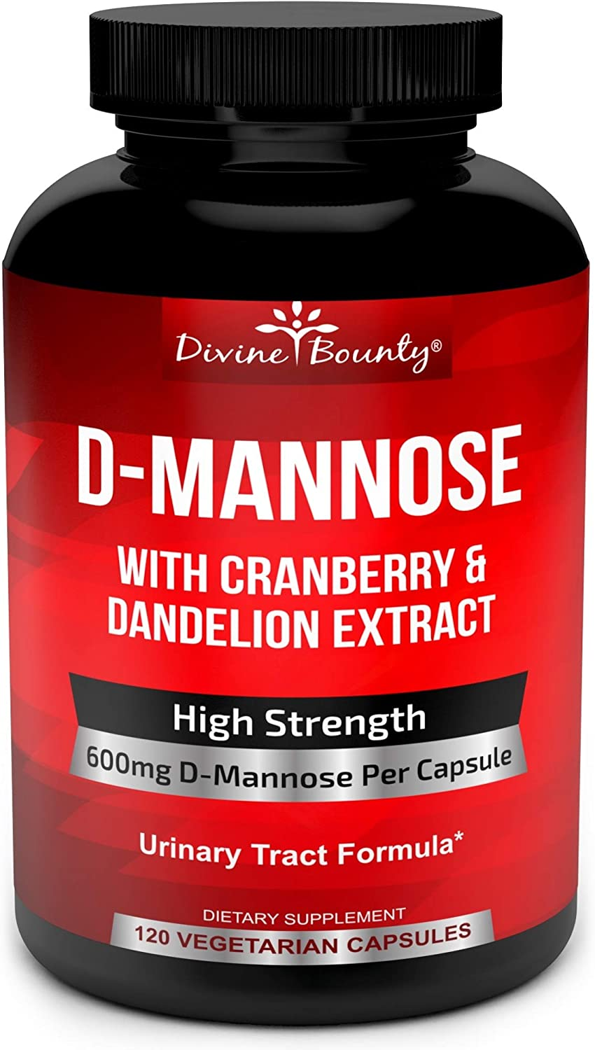 D-Mannose Capsules - 600mg D Mannose Powder per Capsule with Cranberry and Dandelion Extract to Support Normal Urinary Tract Health - 120 Veggie Capsules: Health & Personal Care