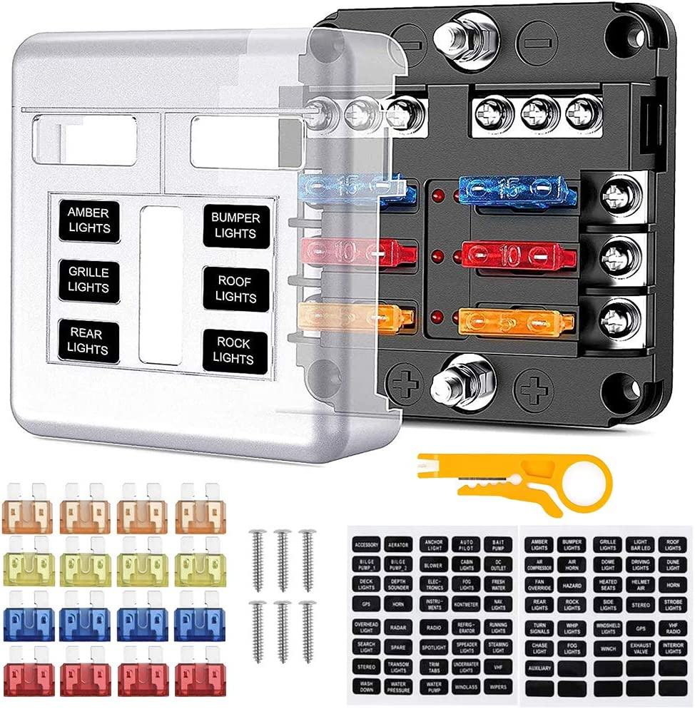 Caja de Fusibles 6 Vías Portafusibles, Caja Fusibles Coche con Lámpara de Alerta LED Kit Bloque de Fusibles Plano ATC/ATO con Bus Negativo para Barco, Marino, Triciclo, Furgoneta, SUV