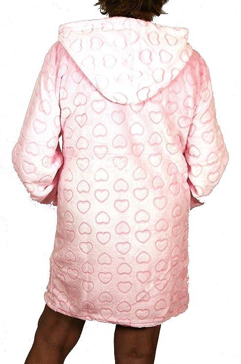 Montse Interiors Bata o Albornoz Mujer Coralina Tacto Seda o Visón Homewear con Capucha (Bata Heart Beige, M): Amazon.es: Hogar
