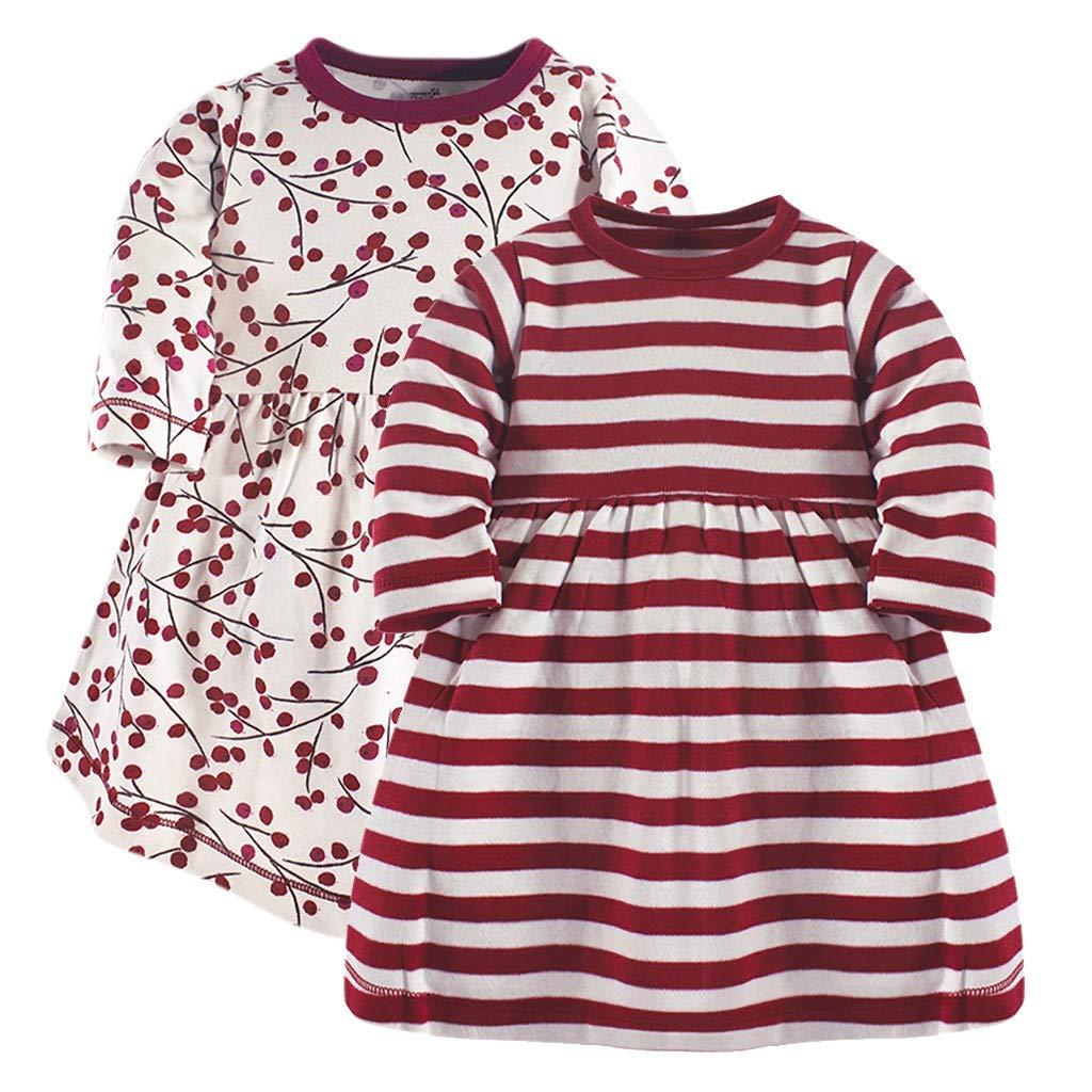 ℊeneral store Children's Long Sleeve Striped Print And Flower Print Skirt Dress 2PC