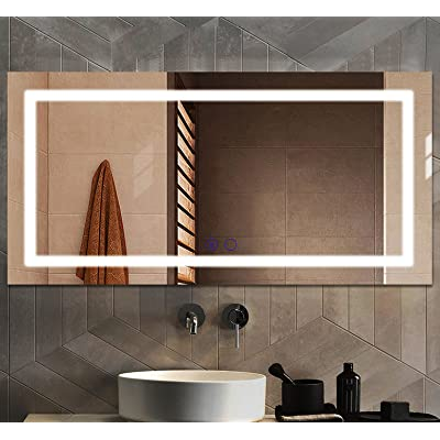 Buy Large Led Bathroom Vanity Mirror For Wall 48 X 24 Inch Anti Fog Touch Control Dimmable Mirror Ul Certification Makeup Mirror With Lights Fog Free Frameless Smart Mirror Online In Turkey B08k8ps2pf