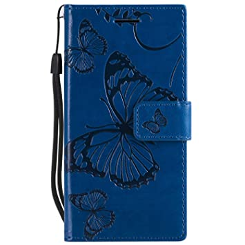 DENDICO Funda Sony Xperia Z5 Compact, Cuero Fundas Protección De Cuerpo Completo Carcasa para Sony Xperia Z5 Compact - Azul