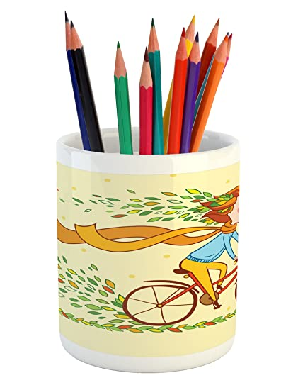 home office colorful girl. Bicycle Pencil Pen Holder By Ambesonne, Girl Riding In The Countryside Autumn Nature Colorful Home Office