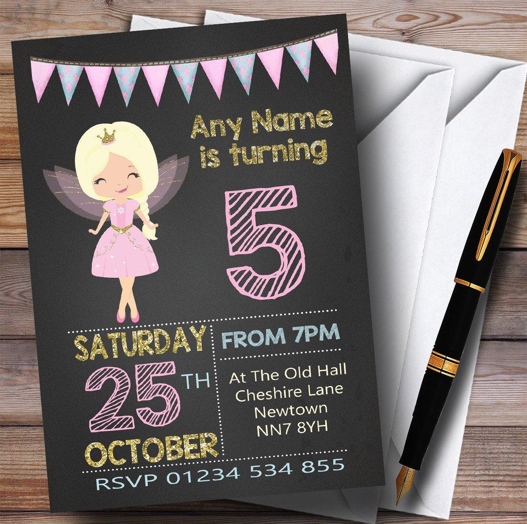 Gold & Pink Chalk Fairy Childrens Birthday Party Invitations