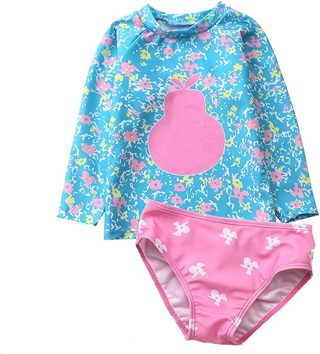Infant Baby Girls Flamingo Rash Guard Sets Girl Polka Dot Swimwear Long Sleeve Swimsuit UPF 50+