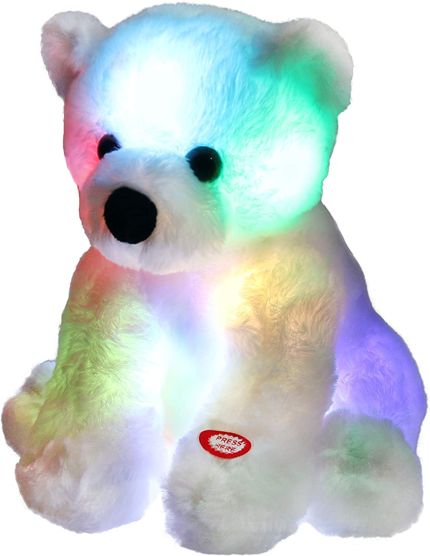 LED Light Teddy Bear Stuffed Animals Plush Toy Christmas Gift for Kids Pillow