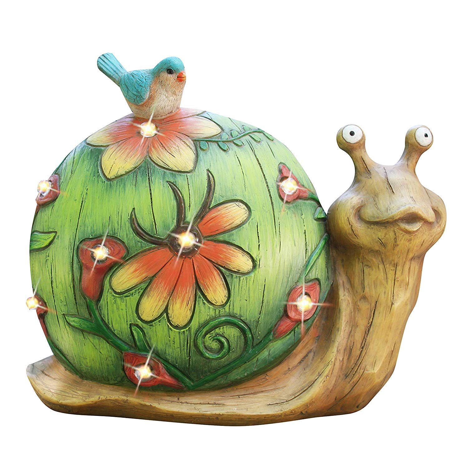 Garden Statue Snail Figurine - Solar Powered LED Lights for Indoor Outdoor Fall Decor for Halloween, Garden Lawn Yard Decorations, 10 x 8.5 Inch, HousewarmingGift by LA JOLIE MUSE