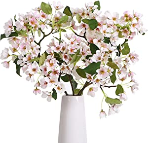 ANWBROAD Artificial Flower Cherry Blossom Bouquets Flowers Artificial 3 PACK Silk Faux Sakura Flowers Fresh Real Touch Flowers Realistic Home Wedding Decoration Floral Arrangements ULAF04LP
