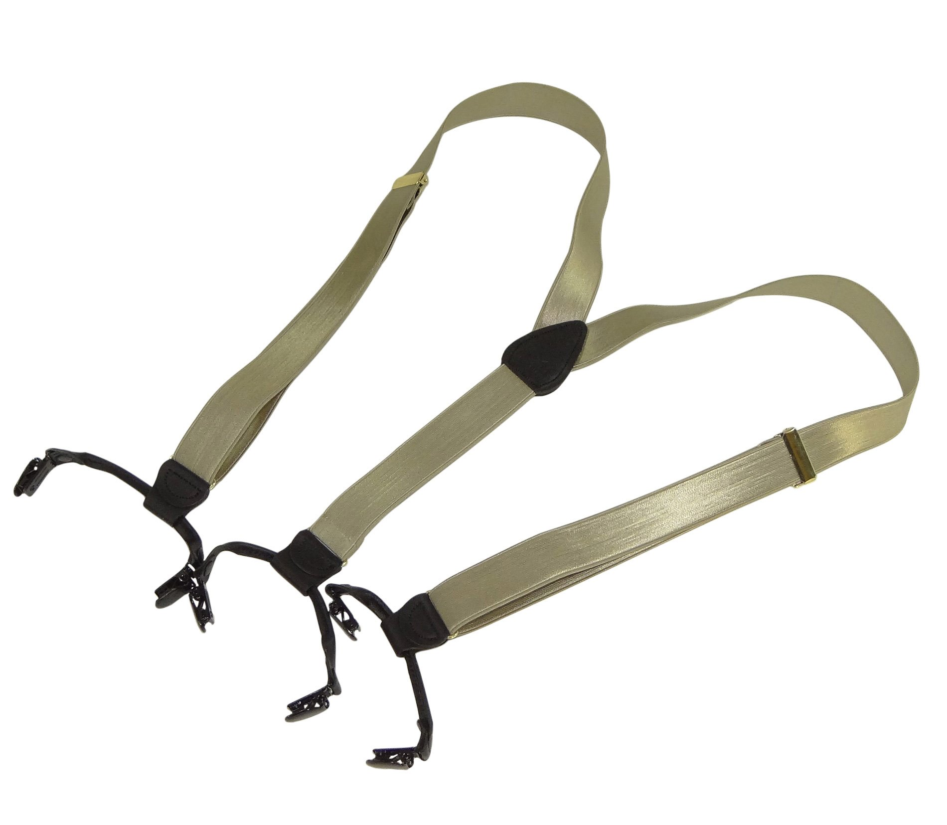Holdup Brand Champagne Golden Tan Satin Finish Formal Double-ups Style Suspenders