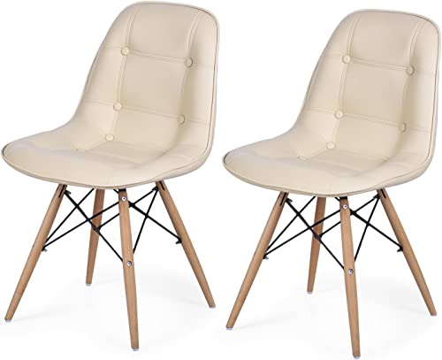 DecentHome Chic Tufted Dining Side Chair with Wooden Legs Set of 2 Beige