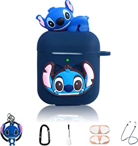 Stitch Cartoon Case for Apple Airpod 2 and 1, 7 in 1 Accessories Set Protective Cover,3D Anime Designed Silicone Case/Stitch Keychain/Metal dust Sticker/Anti-Lost Rope.The Best Gift