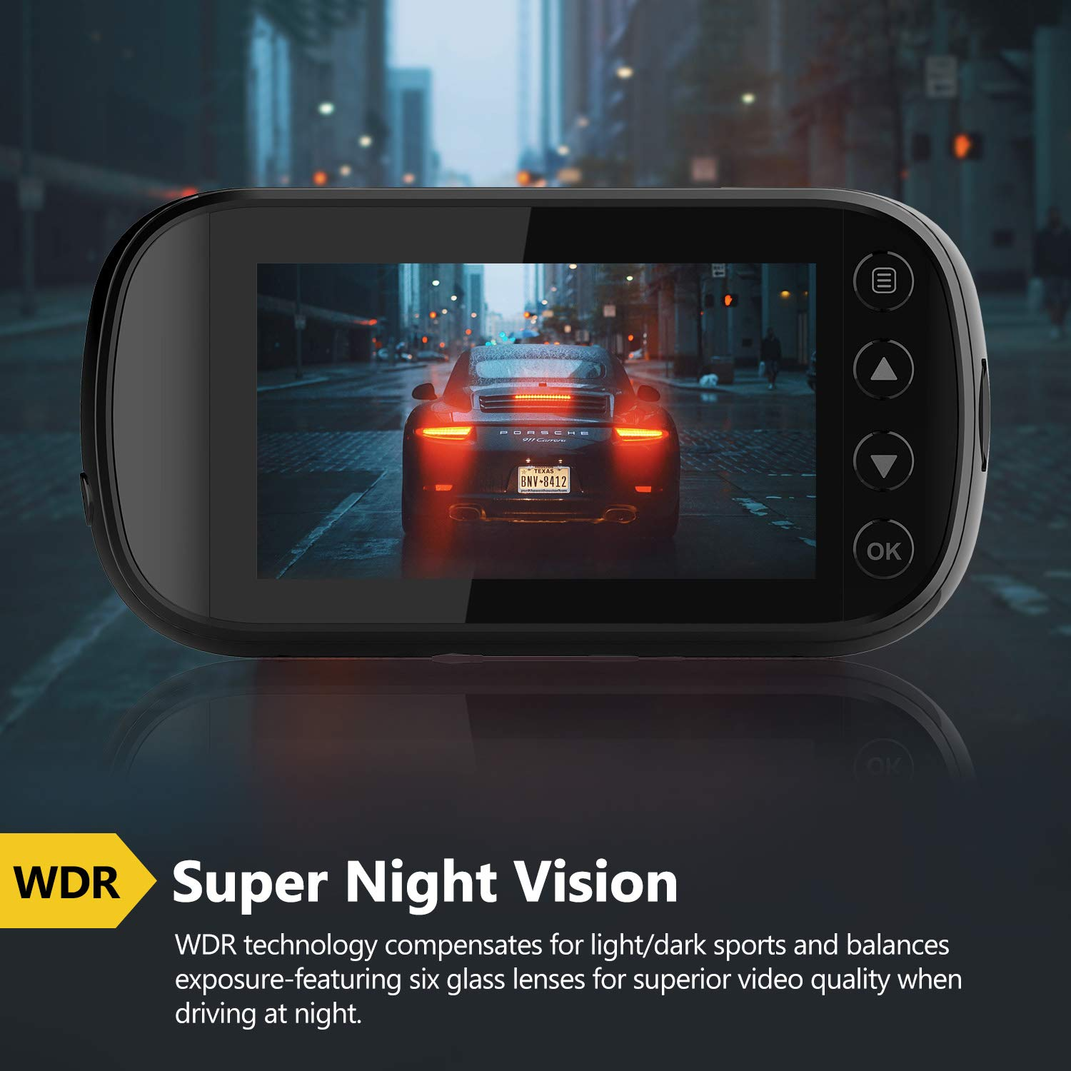 Z-Edge Z3D Dual Lens Dash Cam, 2.7'' Screen Ultra HD 1440P Front & 1080P Rear 150 Degree Wide Angle Front and Rear Dash Cam, Dashboard Camera with GPS, WDR, Low Light Vision, Parking Mode, G-Sensor by Z Z-Edge (Image #4)