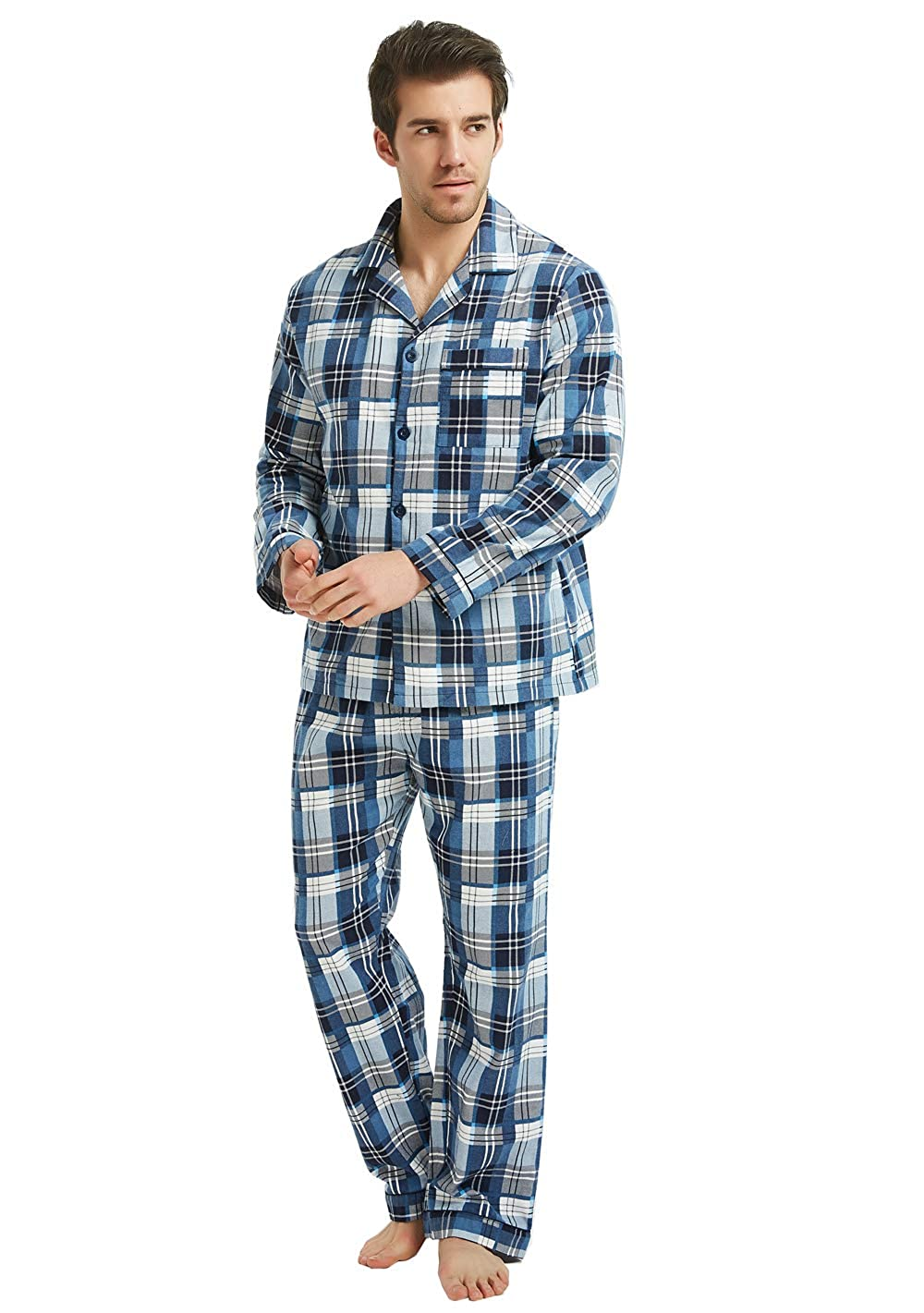 2-Piece Warm Pj Set GLOBAL Mens Flannel Pajamas
