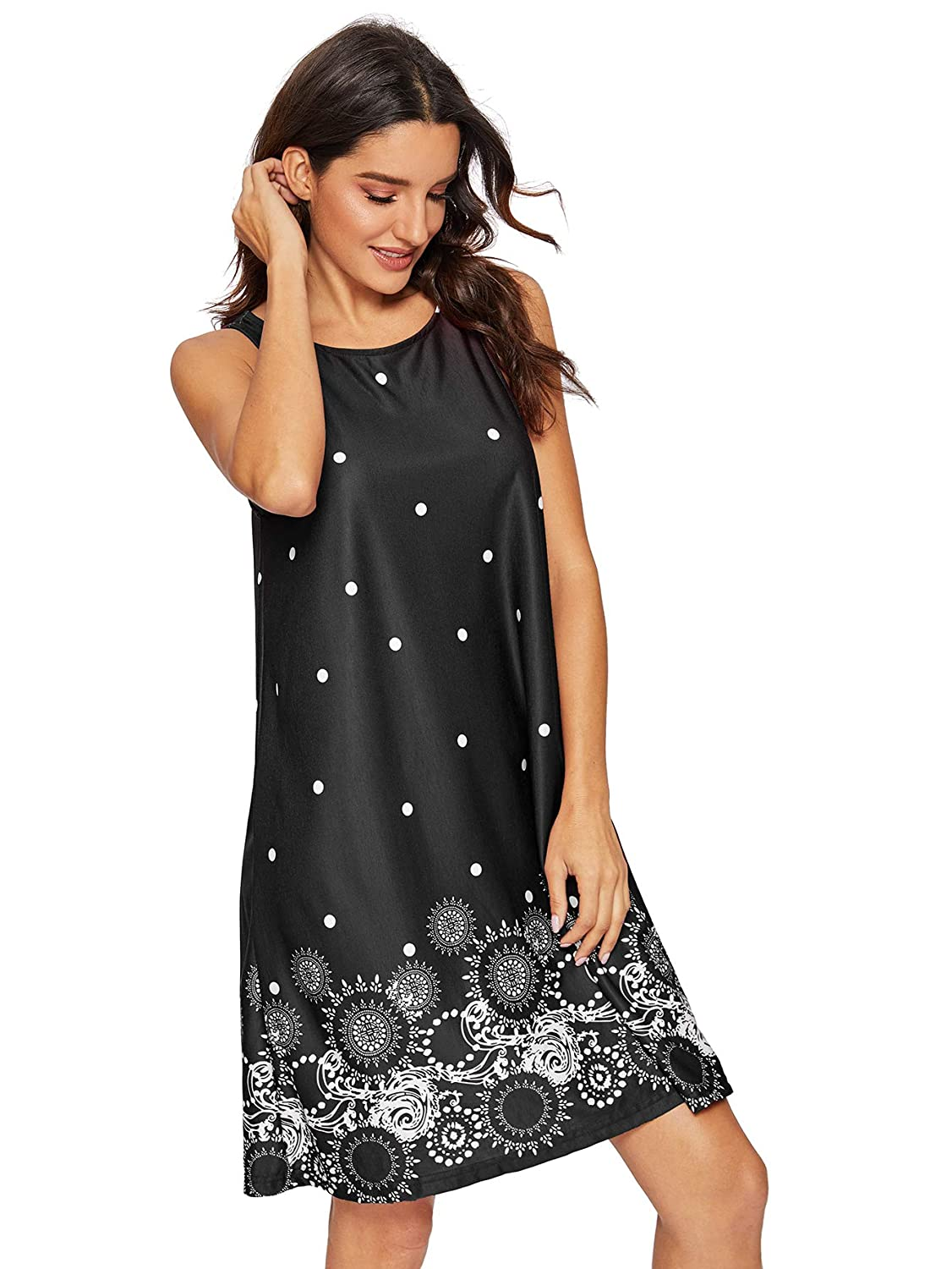 eee03a77f5e6f1 Romwe Women s Summer Sundress Floral Printed Sleeveless Casual A Line Dress  at Amazon Women s Clothing store