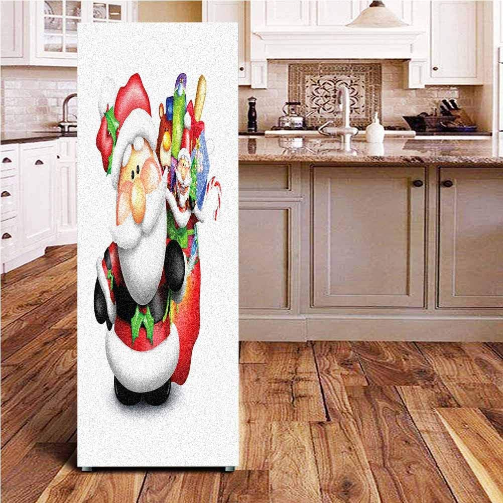 Angel-LJH Santa 3D Door Wall Fridge Door Stickers Mural,Whimsical Cartoon Father Xmas with Pinkish Cheeks and Bag Full of Fun Present Toys Wallpaper Murals Stickers for Refrigerator,24x70