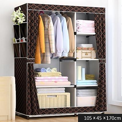 Cloth Wardrobe Closet, Portable Folding Storage Simple Modern Economy  Double Assembled Cabinet Black