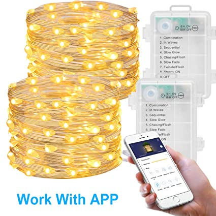 MINGER 2 Pack Fairy Lights with APP, LED Fairy String Lights Battery  Operated, 16 4ft (50 LEDs 8 Modes) Waterproof Copper Wire Firefly Lights  for