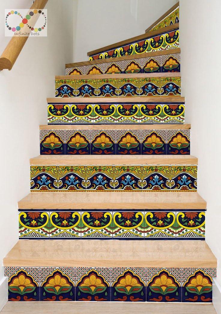 Talavera mexicana estilo decalque tiras para escalera sube - Pelar y pegar - Etiqueta autoadhesiva- Decoración del hogar hazlo tu mismo - Paquete de 5 tiras: Amazon.es: Bricolaje y herramientas