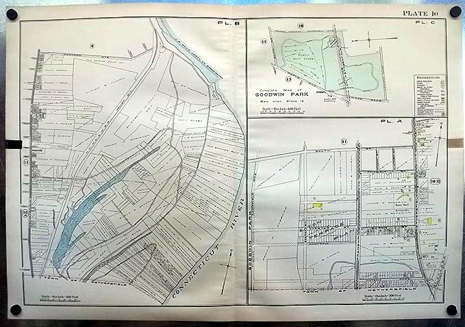1909 Hartford CT Map: Goodwin Park; Goodrich Baseball Grounds; Colt ...