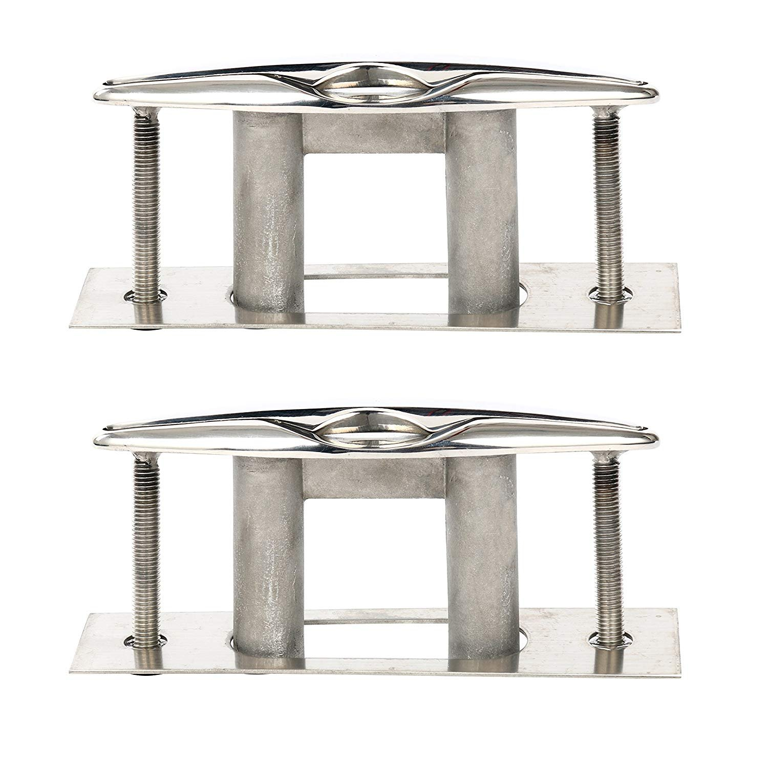Amarine-made Pair Of Boat Marine Stainless Steel 316 Pull up Cleat Flush Mount Cleat Lift - 6 Inch