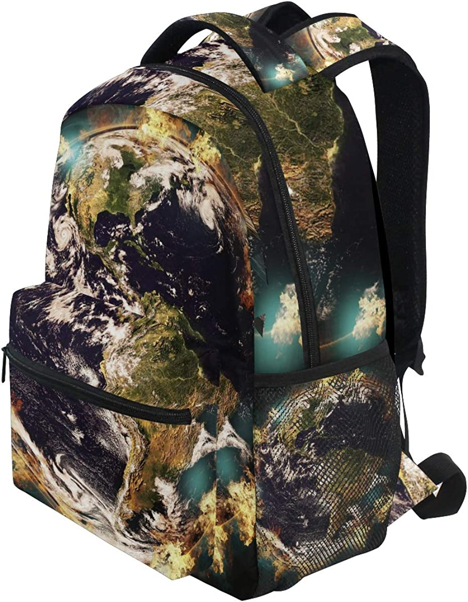 ILEY Earth Destruction Environment School Backpack Computer Book Bag Travel Hiking Camping Casual Daypack for Girls Boys Men and Women